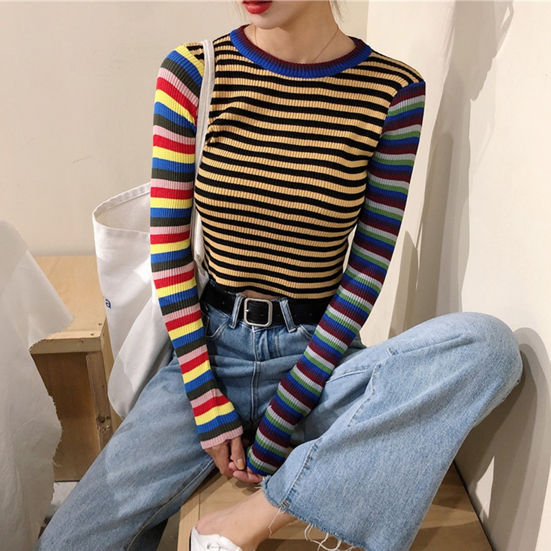 Striped Knitted T-shirt 2019 New Autumn Women Student Wind Casual Wild Slim Short T-shirt Female Crop Tops Long Sleeve T-Shirts