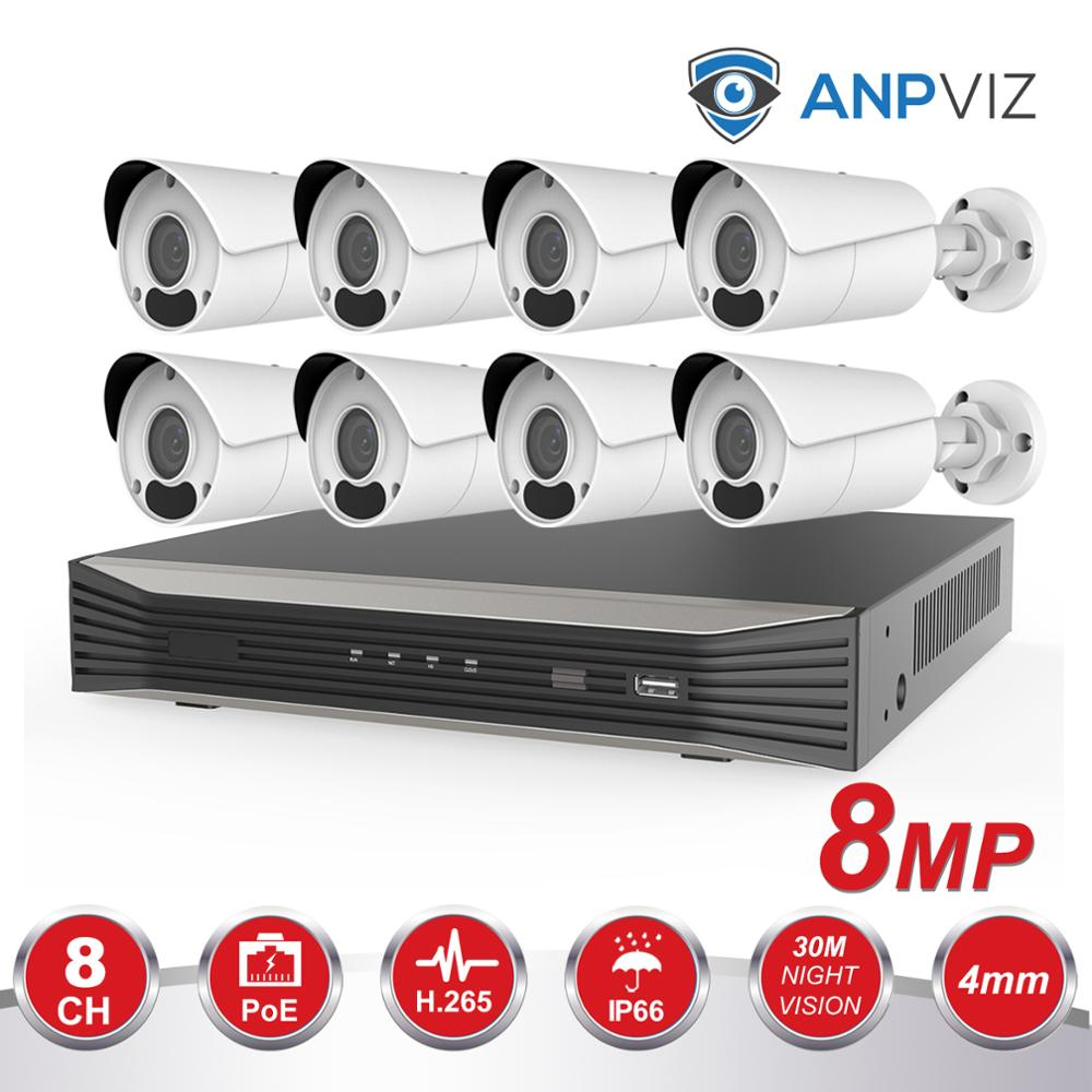 Anpviz 8CH POE NVR Kit HD 4K CCTV Camera System 8MP Outdoor Bullet IP Camera POE Home Security Video Surveillance Set IP66 P2P