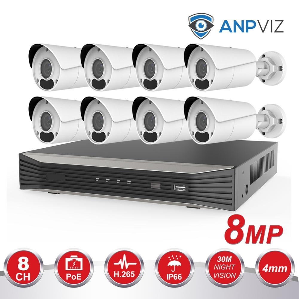 Anpviz 8CH POE NVR Kit HD 4K système de caméra de vidéosurveillance 8MP caméra IP de balle extérieure POE ensemble de Surveillance vidéo de sécurité à domicile IP66 P2P