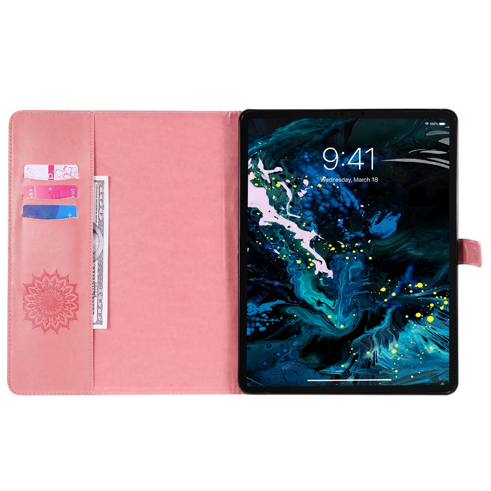 Cover Protective iPad 9 Skin Pro Flower Case Shell 3D 2020 Embossed Leather for 12