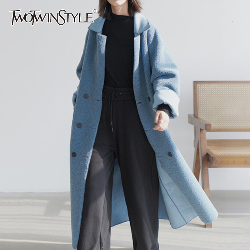 TWOTWINSTYLE Loose Lambswool Jackets For Female Lapel Collar Long Sleeve High Waist Autumn Winter Women's Coats 2020 Fashion New