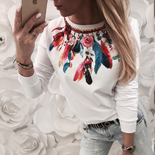 Women O-neck Long Sleeve Top Casual Feather Print T-shirts Autumn Loose Tops Tees Streetwear