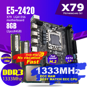 Image 1 - Atermiter X79 1356 Motherboard Set With Xeon LGA 1356 E5 2420 C2 Cpu 2pcs x 4GB = 8GB 1333MHz DDR3 ECC REG Memory Ram PC3 10600