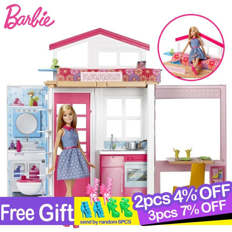 <font><b>Original</b></font> <font><b>Barbie</b></font> Doll Flashing Holiday Home Doll houseKit Cute Room Baby Girl Toys For Children Poppenhuis <font><b>Casa</b></font> de Bonecas image