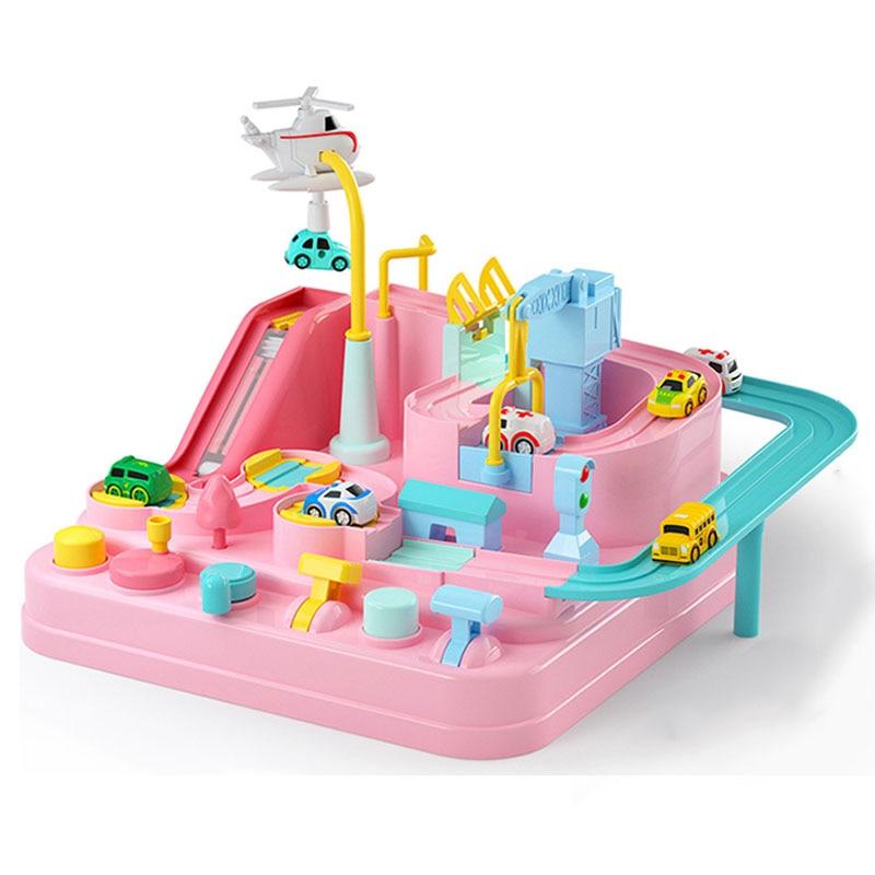 Cute Pink Racing Rail Car Model Racing Educational Toys Track Car Adventure Game Brain Game Mechanical Interactive Train Toy