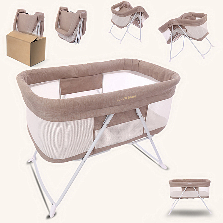 European Style  Newborn Baby Crib Multifunctional Cradle Bed Portable Folding Bed with Mosquito Net 0-12M