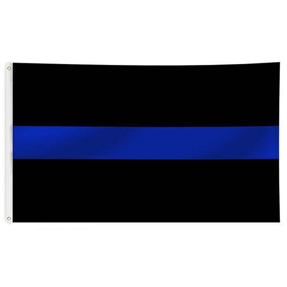 Thin Blue Line Flag 150* 90cm 3ft x 5ft Custom Banner Metal Holes Grommets USA