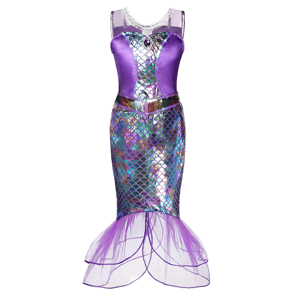 Layered Princess Mermaid Dress up Girl Party Costume Scales Print Gown Kids Milk Silk Clothes and Jewelry Grils Aril Fancy Dress 5
