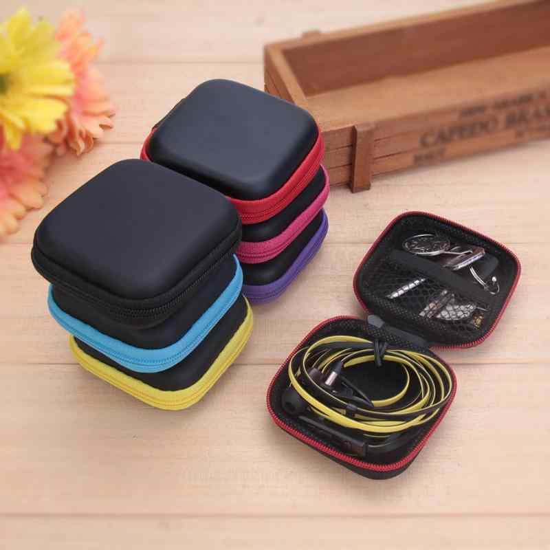 Mini Square EVA Earphone Pemegang Case Mini Zipper Headset Bluetooth Earbud Memori Kartu USB Kabel Kabel Penyimpanan Tas Kotak Baru