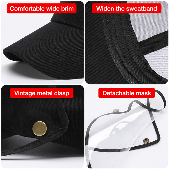 Face Shield Anti-Spitting Hat, Safety Face Shields Anti-Saliva Protective Cap Cover Dustproof Cover Outdoor Fisherman Hat Mask 3
