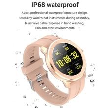 T6 Full ContactรอบSnสมาร์ทนาฬิกาสำหรับชายIP68กันน้ำความดันโลหิตออกซิเจนSmartwatchสำหรับสตรี (สีชมพู)