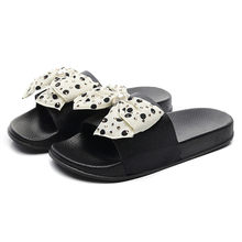 Breathable Flat Slippers Women Simple Casual Bow Soft Black Flip-Flops Outdoor Fashion Sandals Ladies Open Toe Non-slip Slippers(China)
