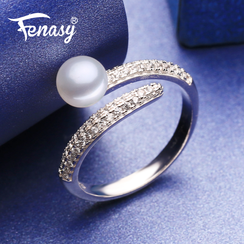 FENASY Rings Ring-Layer-Shape Cubic-Zirconia-Rings 925-Sterling-Silver Natural-Freshwater-Pearl