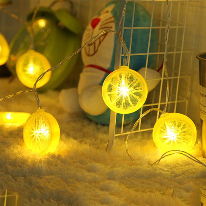 Modern Fruit Decor Night Light Battery Box Lamp String Lemon Slice Color Night Light Christmas Decor LED Lighting String Light