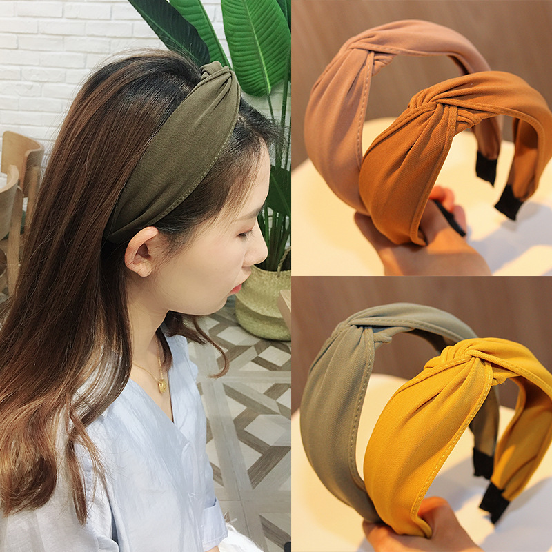 Wide Border Antiskid Solid Cotton Soft Knotted Headband Hairband For Women Lady Bow Hair Hoop Hair Accessories Headwear