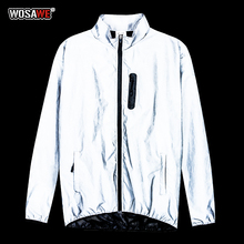 WOSAWE giacca da moto da uomo autunno inverno giacca completamente riflettente giacca da notte incandescente giacca antivento da bici calda antivento