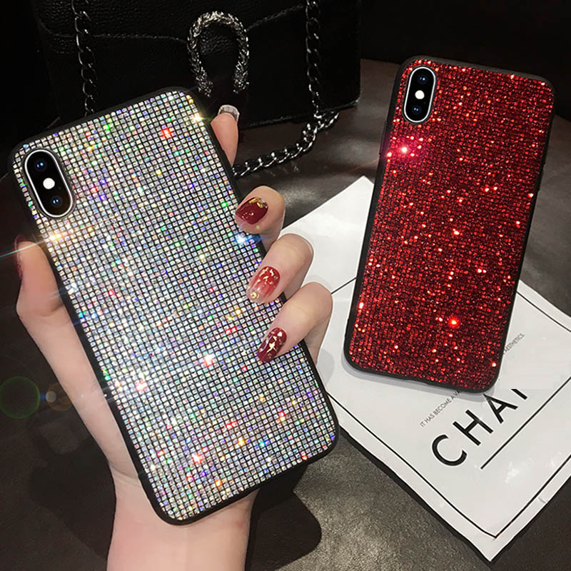 Glitter Case dla Huawei Mate 20 P20 P30 lite Pro Honor V20 8X 10 Nova 3i P inteligentny P10 dla iPhone XS Max XR X 7 8 6s Plus diament