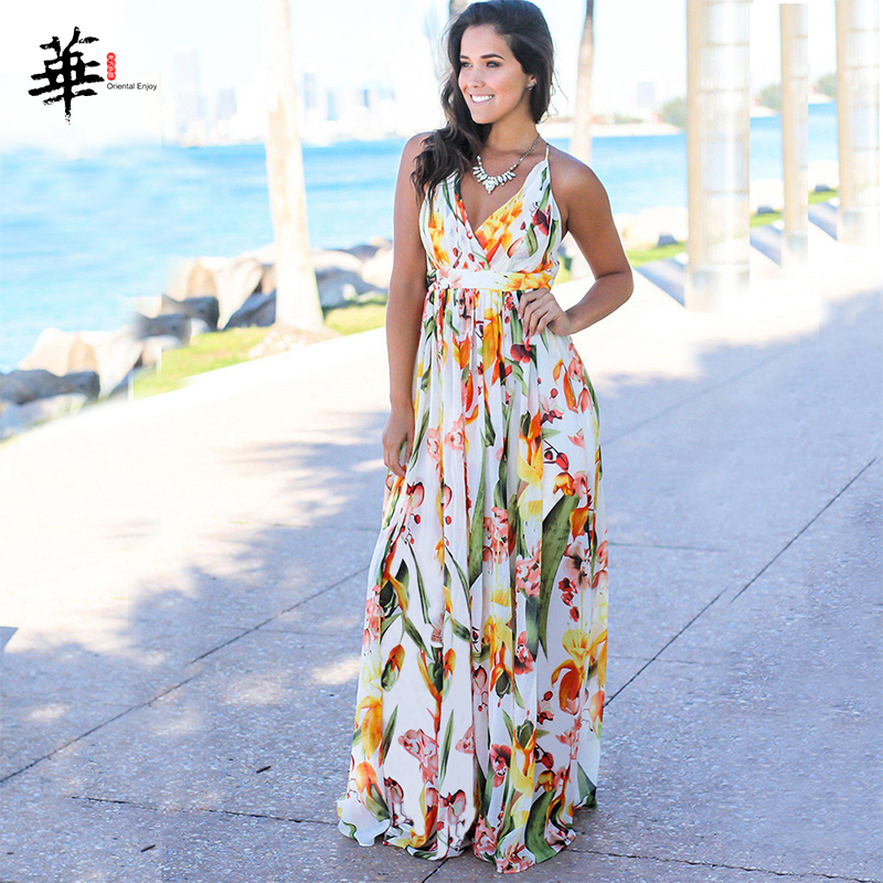Multicolor Tropical Jungle Leaf Boho Long Dress Sling Cross Back Women V Neck 2020 Party Night Elegant Sexy Maxi Summer Dresses
