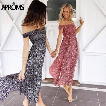 Aproms Sweet Pleated Tube Tunic Maxi Dress Red Floral Off Shoulder High Split Beach Dress Summer 2020 Boho Cool Girls Sundresses 2