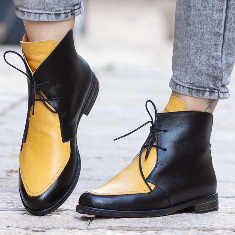 Artı boyutu yarım çizmeler kadın platformu Lace Up toka ayakkabı kalın topuk kısa çizme bayanlar rahat ayakkabı Drop Shipping