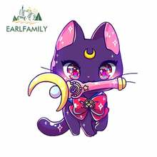 EARLFAMILY 13cm x 12.3cm for Sailor Moon Cat Car Decal Bumper Window Vinyl Car Sticker Personality for VAN RV SUV Waterproof