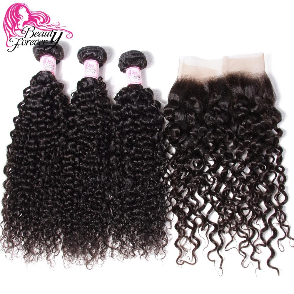 Beleza para sempre malaio encaracolado cabelo humano tecer pacotes com 13*4 fechamento frontal do laço parte livre fechamento remy