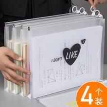 Pouch Stationery-Organizer Document-Bags Plastic A4 Desk Test-Paper-Bags Zipper Transparent
