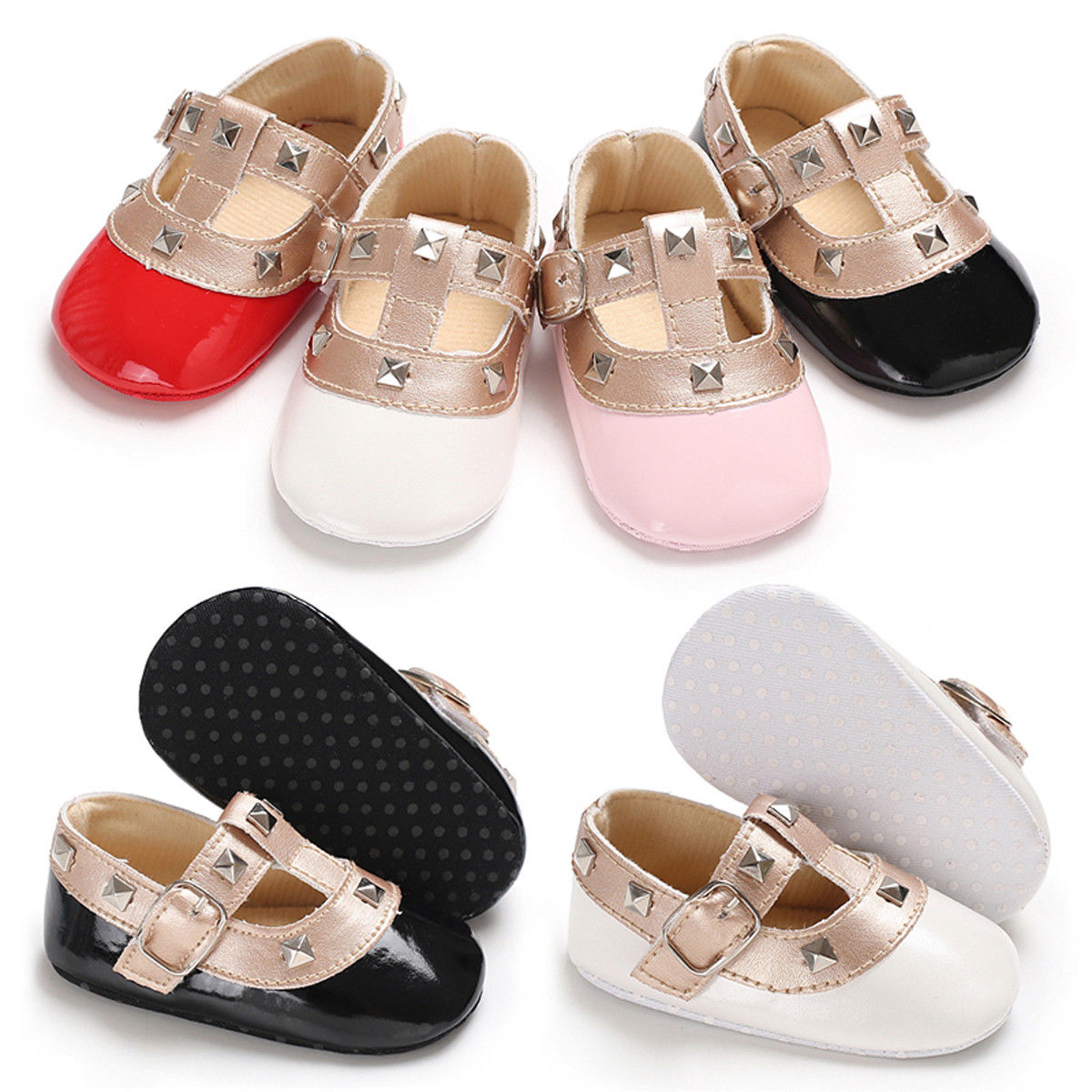 Newborn Toddler Baby Girls Bow Princess Leather Shoes Soft Sole Crib Solid Buckle Straps Flat With Heel Shoes 4 Colors