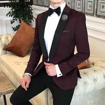 Thorndike Elegant Wine Red Suit For Men, Custome Homme Mariage, Terno Mascolino, Wedding Dress Tuxedos For Groom,2 Pcs Pants Set