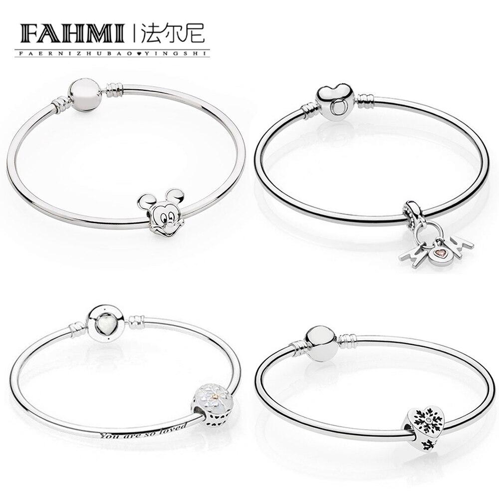 FAHMI 100% 925 Sterling Silver PERFECT MUM HANGING CHARM SNOWFLAKE HEART CHARM Tree Of Hearts Charm Portret Beaded Bangle Set