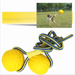 7/9CM Pet Dog Training Chew Toy Indestructible Solid Rubber Ball Play Fetch Bite Carrier Rope Bite Resistant sale(China)