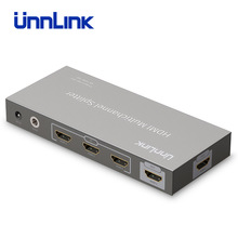 Unnlink HDMI 3 Input 2 Output Splitter Switch v1.4 Support UHD 4K@30Hz with IR Remote for Smart LED TV Box projector