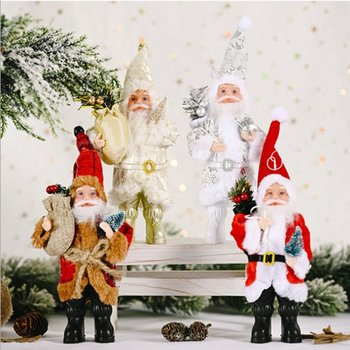 4pcs set Christmas Decoration Supplies Standing Posture Santa Claus Doll Exquisite Ornaments atmosphere