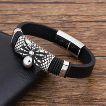 2019 Wholesale Black Charm Leather Bracelet Men spider Stainless Steel Handmade Jewelry Punk Rock  Accessories wristband