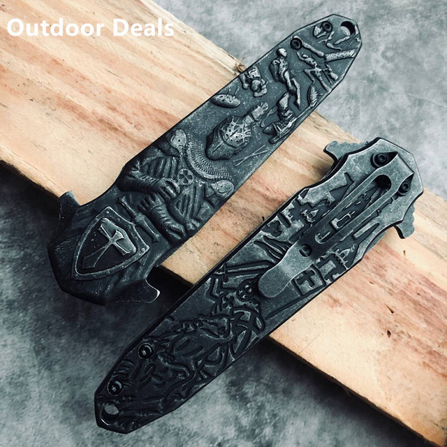 HOT 3D Carving Crusader Collection Knife Full Steel EDC Assisted Stiletto Knives Pocket Fold Blade Tactical Hunting Tool Gift
