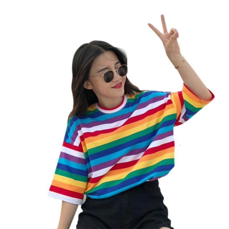 New T Shirt Women Rainbow Striped Tops Harajuku Tshirt 2018 Summer Short Sleeve Korean Punk T-shirt Camiseta Feminina T8 40