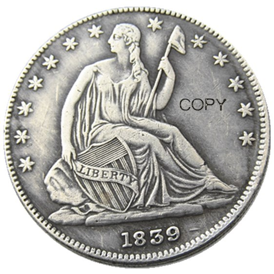 US 1839 - 1865 MINT:P Liberty Seated Half Dollar Silver Plated Copy Coins image