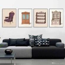 Cartel de muebles de armario Vintage e impresiones estante de granja pared arte lienzo pintura regalo para Niñas para decoración de fotos de dormitorio