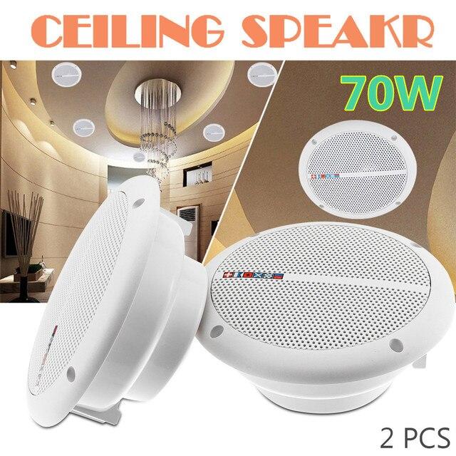 1 Pair 70W 7 Inch Waterproof Ceiling Speakers 2-Way Flush Mount Speakers Home Audio Loundspeaker Stereo Music Player for Car