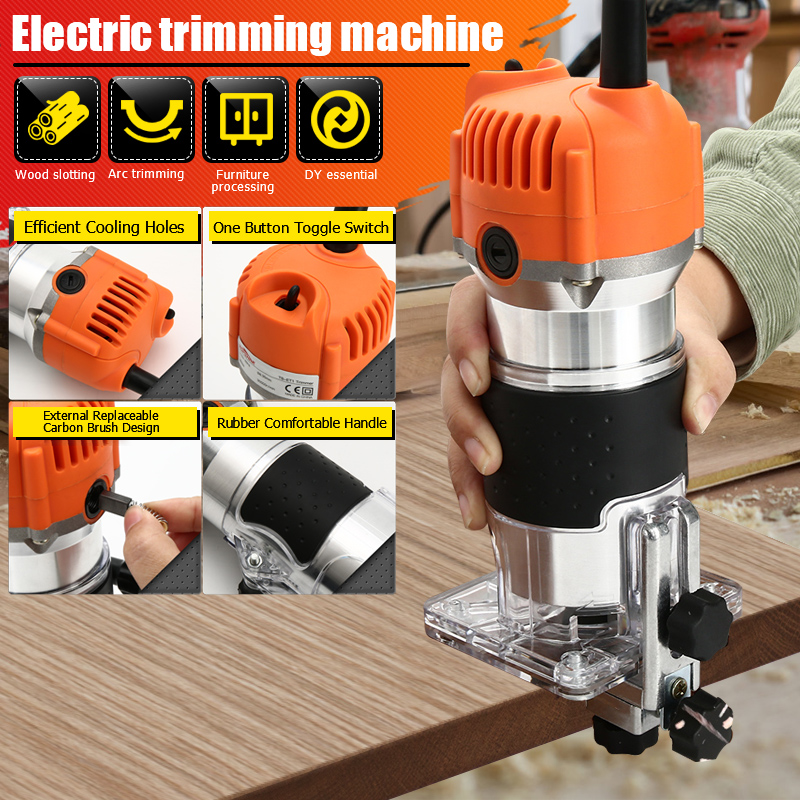 Woodworking Electric Trimmer 800W 30000rpm Wood Milling 6.35mm Mini Portable Manual Trimming Engraving Machine Edge Joiners Tool