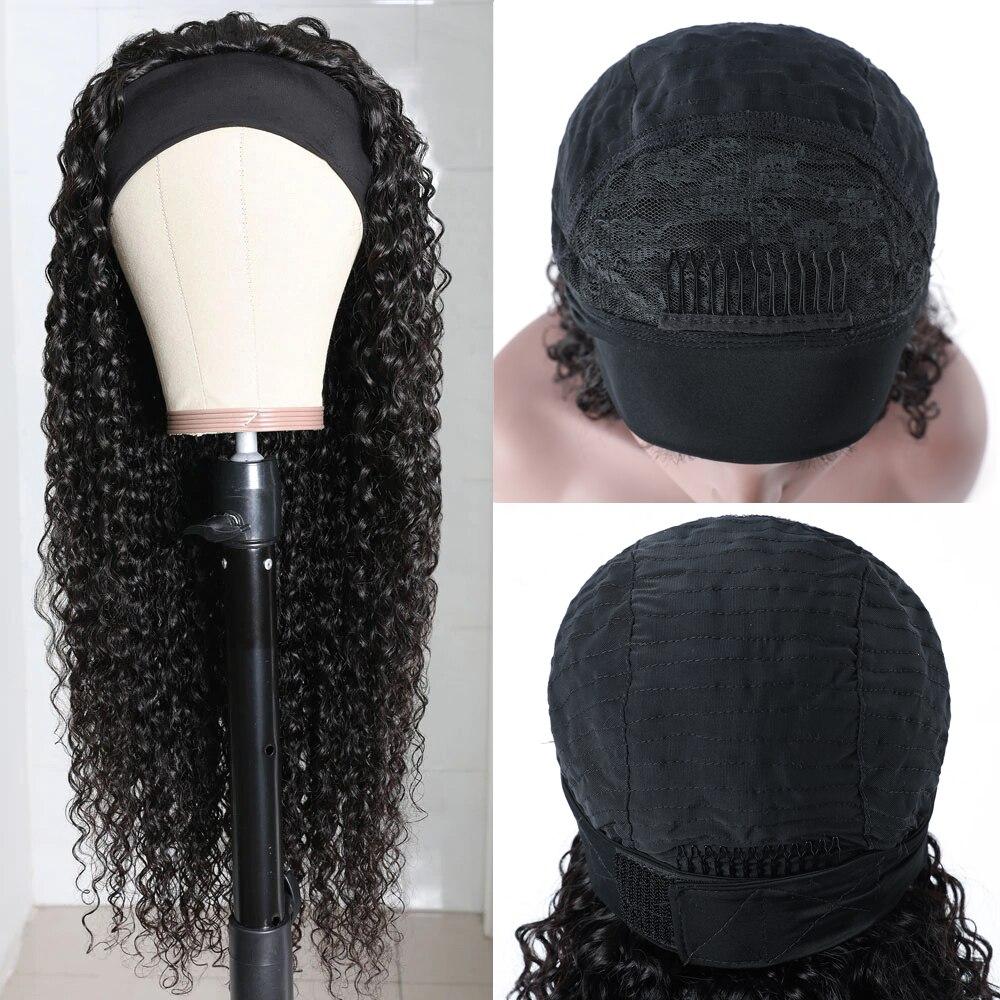 Julia Malaysian Curly Headband Wig Human Hair 14-26 Virgin Hair Scarf Wig Easy to Install Jerry Curl Hair Wig with Headband
