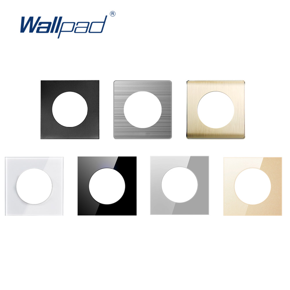 Wallpad Single Tempered Glass Panel Only 86*86mm White And Black Round Circle Glass Stainless Steel PC Panel