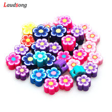 50 adet/grup DIY karışık çiçek boncuk polimer kil boncuk takı yapımı için el yapımı bilezik kolye takı kaynağı 10mm