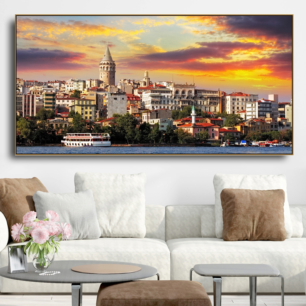 Laeacco <font><b>Istanbul</b></font> Wall Pictures Canvas Painting Decor Pictures Famous Sights Scenery Paintings for Living Room Wall Decor Art image