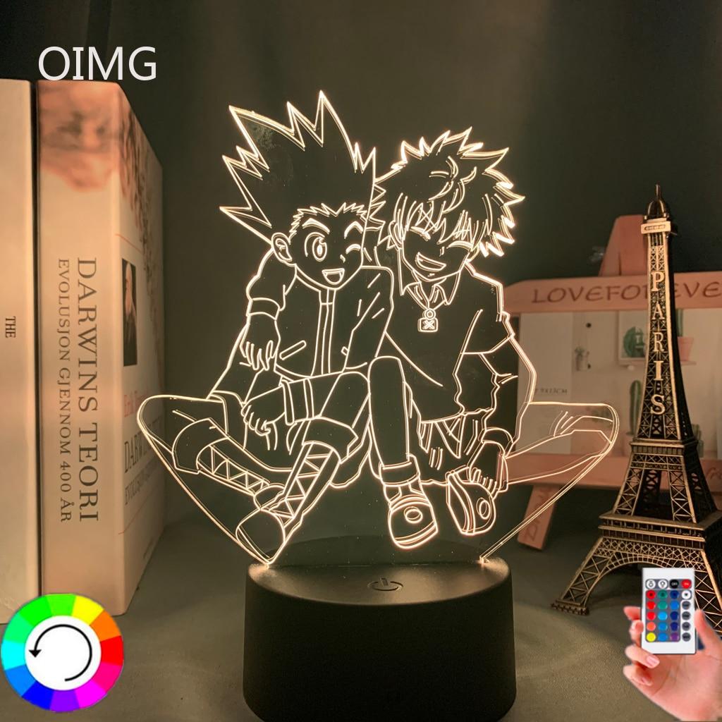 Acrylic 3d Lamp Anime Hunter X Hunter Killua and Gon for Bedroom Decor Nightlight Birthday Gift Led Night Light Manga Hxh Killua