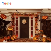 Yeele Halloween Backdrop Pumpkin Lantern Skull House Door Autumn Custom Vinyl Photography Background For Photo Studio Props