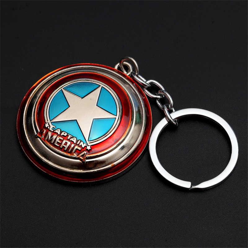 Anime Captain America Shield Metallo Portachiavi Marvel Avengers Captain Auto Portachiavi Holder Cosplay Pendenti con gemme e perle Action Figure Giocattoli Bambola