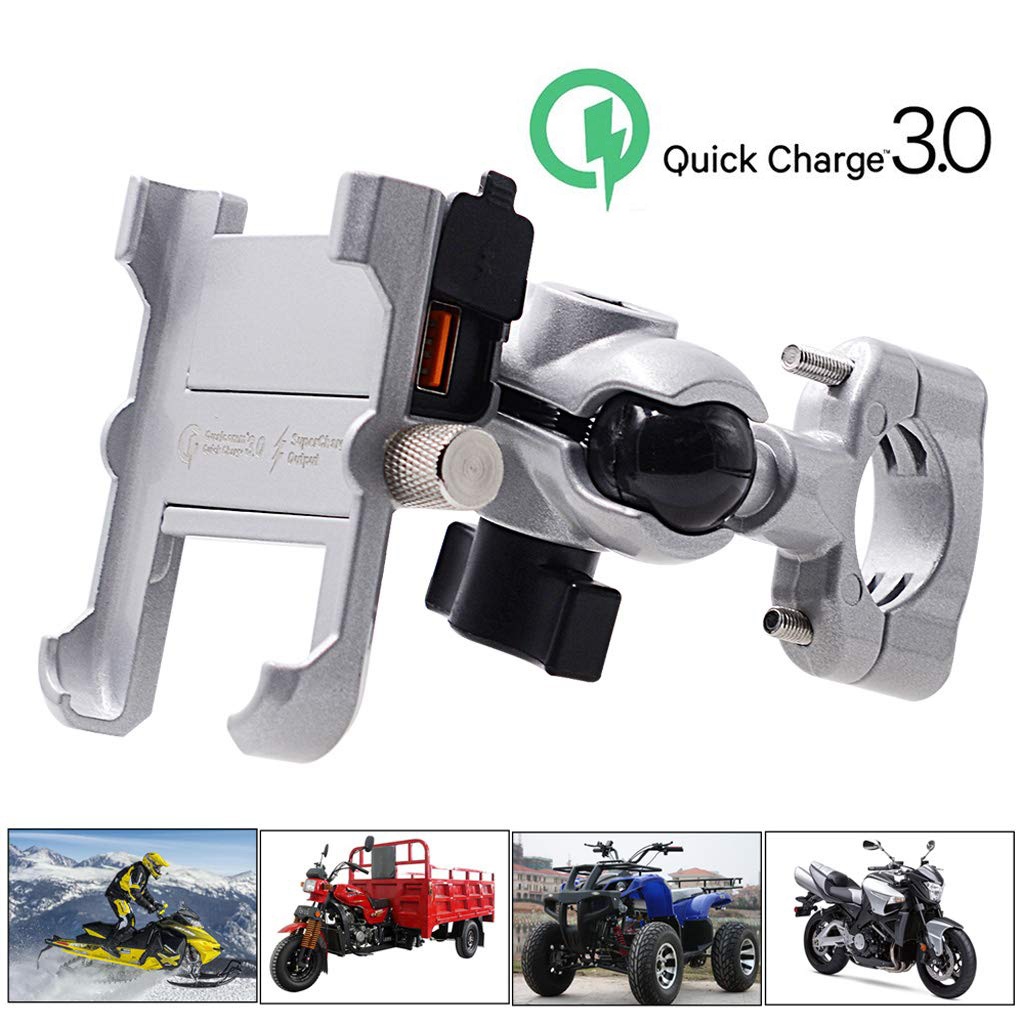 Aluminum Alloy Motorcycle Phone Holder Mount With USB Charger Handlebar Bracket For Stand For Phone Holder Support Celular Moto