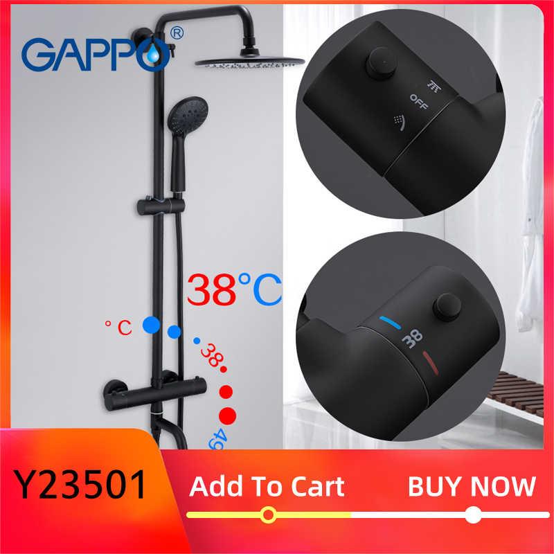 Gappo czarne baterie prysznicowe wanna termostatyczna zimne gorące krany system prysznicowy duży napowietrzny