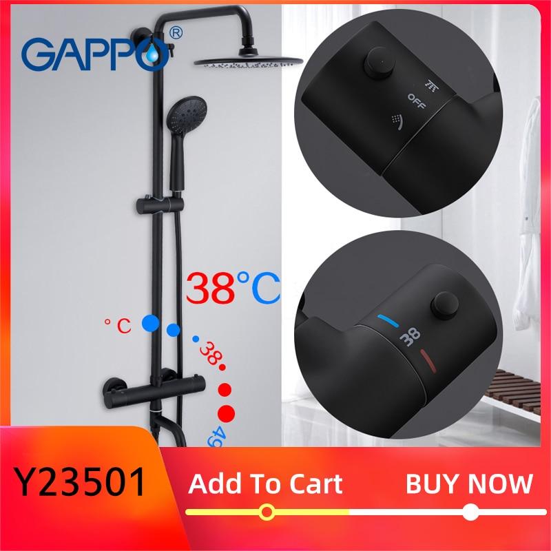 Gappo, черные смесители для душа, для ванной, Термостатические, для холодной и горячей температуры, смесители, Душевая система, большие накладные
